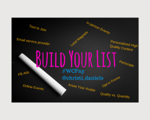 Build Your List #wcfay2015